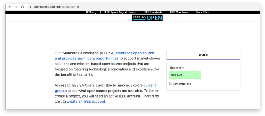 create ieee sa open single sign on 1